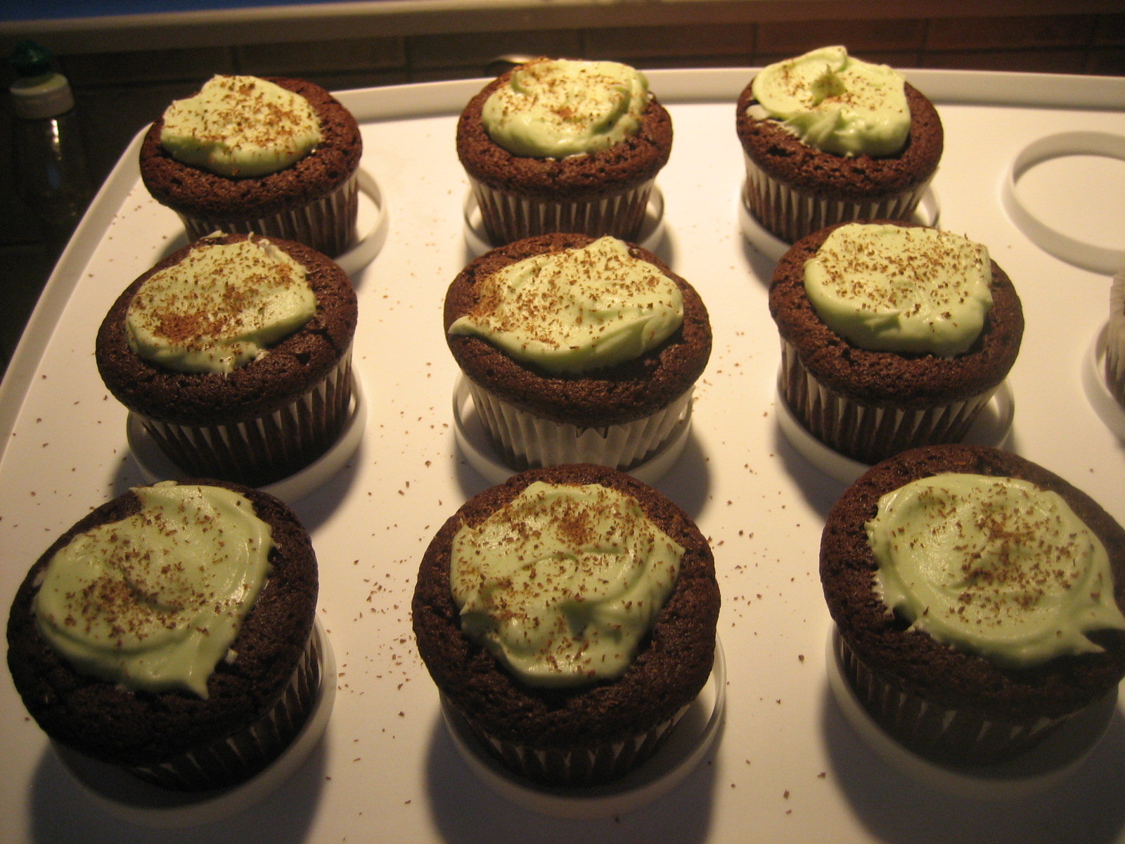Chocolate Souffle Cupcakes with Mint Cream — What's Cooking on ...